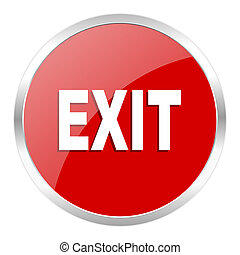 exit icon - red web button isolated