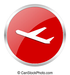 deparures icon - red web button isolated