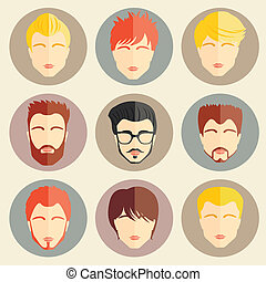 Vector set of stylish guys in modern flat design - Set of...
