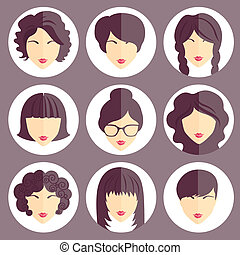 Vector set of stylish girls in modern flat design