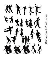 Dançarinos, cobrança, silueta