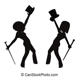 dancers with top hats and canes - dancers with accessories...