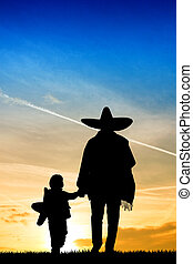 Mexican man and child - illustration of Mexican man and...