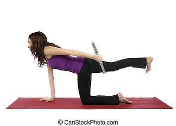 Fitness woman doing kneeling triceps kickback - Young woman...
