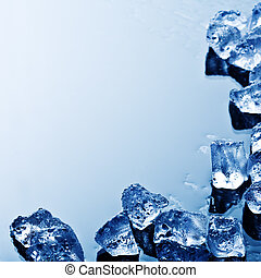 Ice cubes background - background with ice cubes in blue...