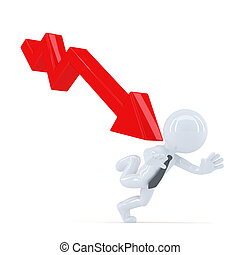 Business man running away from the down trend graph....