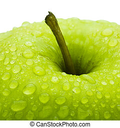 Apple - Closeup of the green apple covered dew