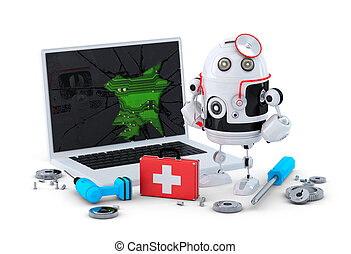 Medic Robot. Laptop repair concept. Isolated on white...