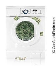 Money in washing machine isolated on white background