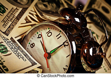 alarm clock - close up of the oldfashioned alarm clock and...