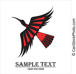 crane in black and red. - silhouette of the flying black...