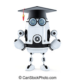 Robot student with mortarboard. Isolated on white background