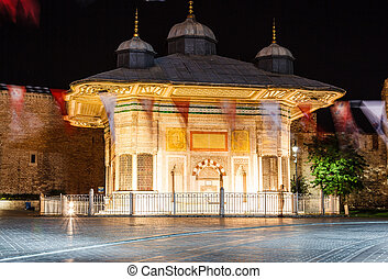 The Fountain of Sultan Ahmed III at night, Istanbul