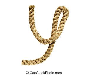 Letter Y - old natural fiber rope bent in the form of letter...