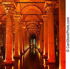 Underground Basilica Cistern Yerebatan Sarnici in Istanbul,...