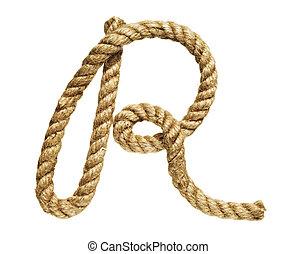 Letter R - old natural fiber rope bent in the form of letter...