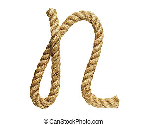 Letter N - old natural fiber rope bent in the form of letter...