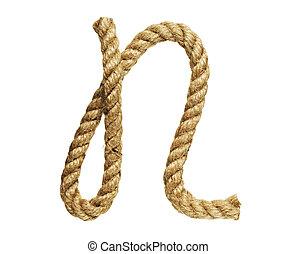 Letter N - old natural fiber rope bent in the form of letter...