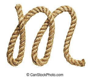 Letter M - old natural fiber rope bent in the form of letter...