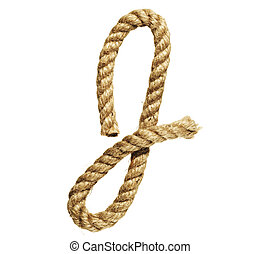 Letter J - old natural fiber rope bent in the form of letter...