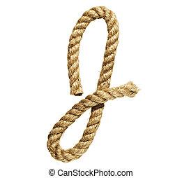 Letter J - old natural fiber rope bent in the form of letter...
