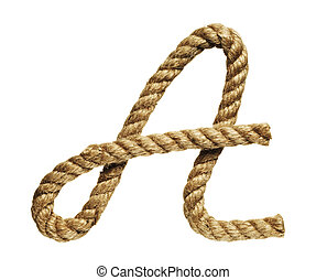 Letter A - old natural fiber rope bent in the form of letter...