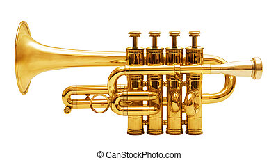 isolated trumpet - wind musical instrument isolated over...