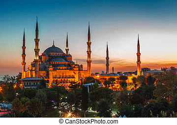 Blue Mosque in Istanbul, with sunset - Blue Mosque in...