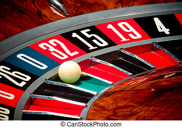 Roulette wheel - Close up of roulette wheel and ball in...