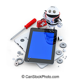 Robot repairing tablet computer. Technology concept
