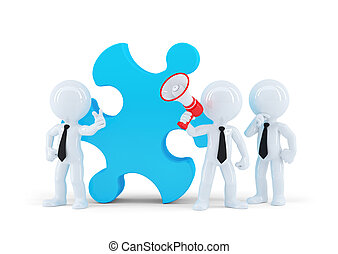 Team of business people and piece of a puzzle. Business...