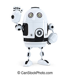 Cute robot waving hello. Isolated on white background