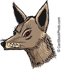 jackal - hand drawn, sketch, cartoon illustration of jackal