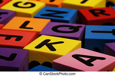 Colorful foam letter blocks - A set of colorful foam...
