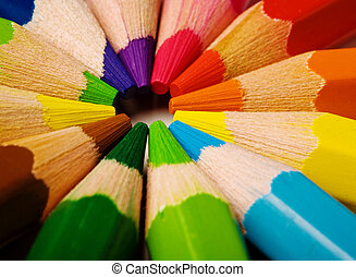 Colored pencils - Assortment of coloured pencils with shadow...