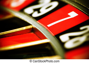 Casino roulette, seven - Close up view of the roulette...