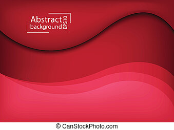 3D Abstract curve overlap on red background used for web...