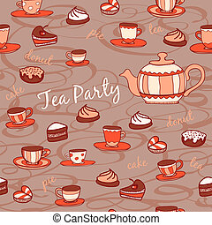 Tea party. Seamless pattern. Hand drawn illustration.