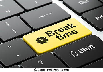 Time concept: Clock and Break Time on computer keyboard...