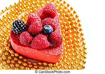 Heart shaped cake with berries - Heart shaped cake with...