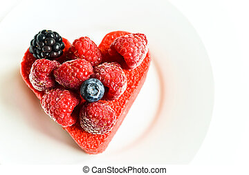Colorful heart-shaped cake - Heart shaped cake with...