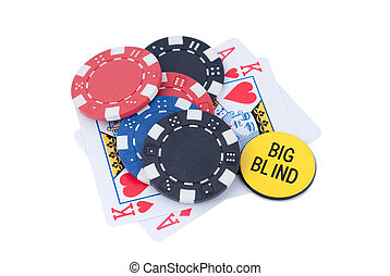 poker ace,king,chips and big blind isolated white