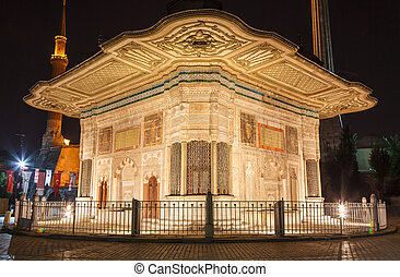 The Fountain of Sultan Ahmed III at night, Istanbul.