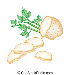 Fresh Slice Celery Root on White Background - Vegetable and...