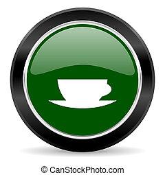espresso icon - green glossy web button