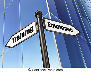 Education concept: sign Employee Training on Building background, 3d render
