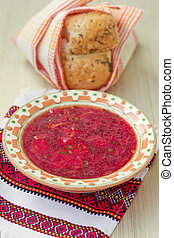 Traditional Ukrainian soup - red borsch - Traditional...