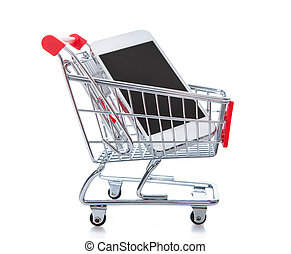Wire mesh shopping trolley or cart with a phone computer inside
