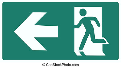 emergency exit green label isolated vector illustration -...