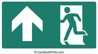 emergency exit green label isolated vector illustration - up